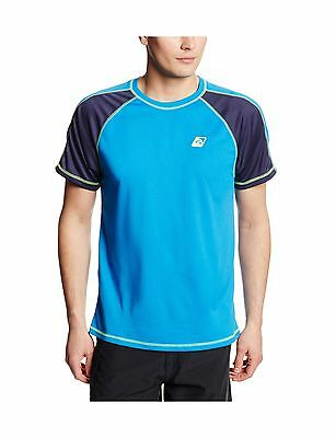 Laguna Men's UPF 50+ Lifeguard Loose Fit Rash Guard Turquoise/Navy Medium New