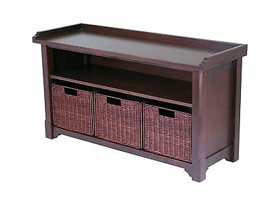 Winsome Wood Milan Wood Storage Bench in Antique Walnut Finish with Stora... New