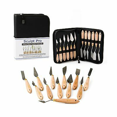 Palette Painting Knife Set- 12 Stainless Steel Art Palette Knives with Ca... New