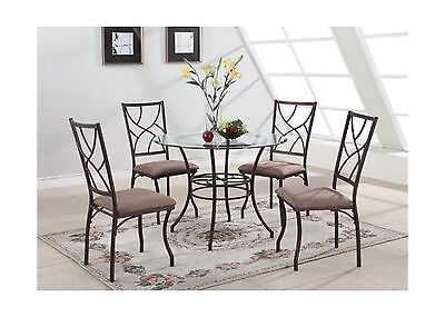 King's Brand 5 Pc. Set Round Glass and Metal Dining Room Kitchen Table an... New