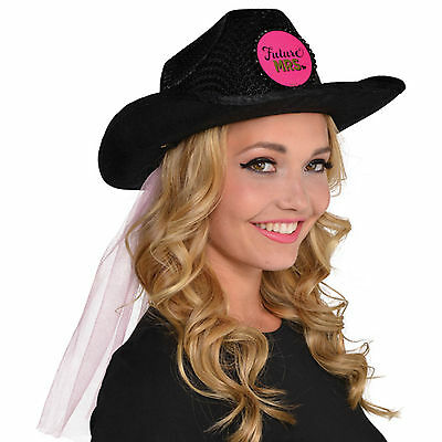 Adult Black Sequin Hen Night Party Bride To Be FUTURE MRS Cowboy Hat with Veil