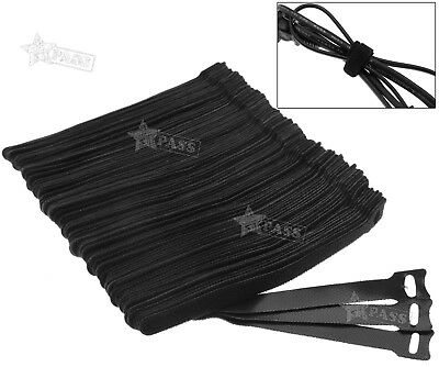 100x Reusable Nylon Strap Hook and Loop Cable Cord Ties Tidy Organiser UK