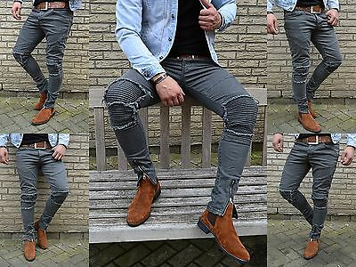 Young fashion destroyed Zipper Herren UK Style Skinny Fit Men Röhre Jeans Hose
