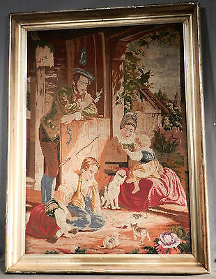 Antique Needlepoint Tapestry Lemon Gold Frame Cat Kitten Children Victorian Art