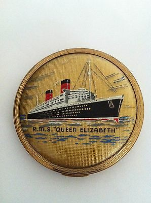 Vintage CUNARD RMS QUEEN ELIZABETH Liner CRUISE SHIP by Stratton POWDER COMPACT