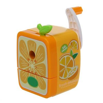 Orange Pencil Sharpener Hand Crank Manual Desktop School Stationery Kids T7H9