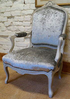 Antique French Louis XV Armchairs upholstered in crushed velvet fabric