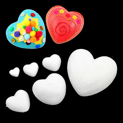 Heart Shape White Foam Styrofoam Polystyrene Modelling DIY Craft Party Decor