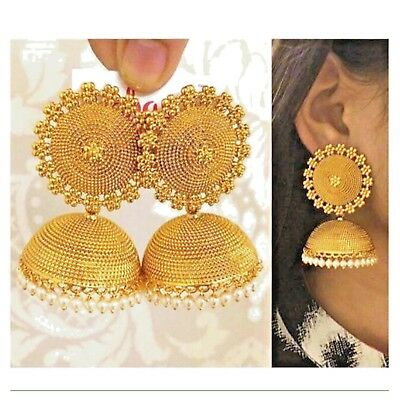 Indian Ethnic Bollywood Style Gold Plated Pearl Jhumka Jhumki Earring Jewelry