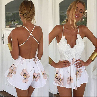 Women Ladies Clubwear V Neck Playsuit Bodycon Party Jumpsuit&Romper Trousers USA