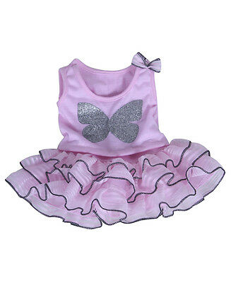 "Pink glitter butterfly top & sparkle tutu outfit clothes fits 15"" Build a Bear"
