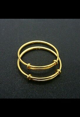 UK 1 *24k gold filled BABY BANGLE BRACELET birthday BOY GIRL 0-6 FAMILY GIFT BaG