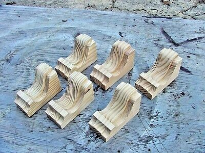 Set of 6 Small Wood Corbels..  Vintage Design..   (SCW # 25)