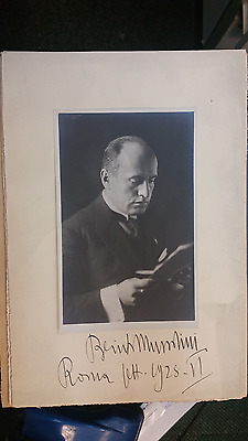 Benito Mussolini photograph and signed matte 9 1/2 X 14 EXTREMELY RARE