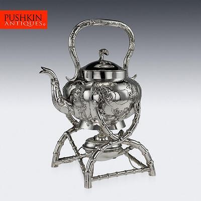 ANTIQUE 20thC CHINESE EXPORT SOLID SILVER KETTLE, HONG KONG, KWAN HING c.1900