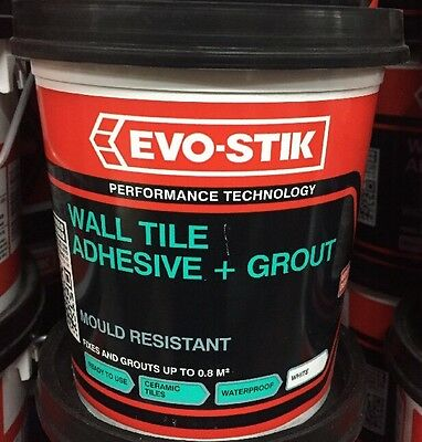 Evo-Stik Wall Tile  + Grout Adhesive In White 1 Litre With Free Fast post