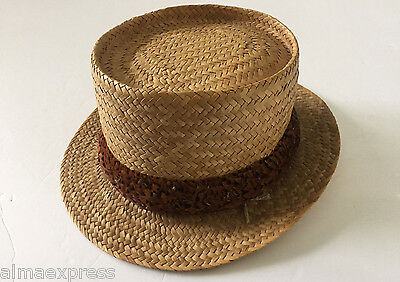Vintage Hawaiian Pheasant ? Feather Lei Straw Hat Band, Hand Stitched
