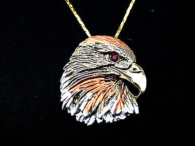 Greifvogel Adler Chain Eagle Head vergoldet Geschenkbox Halskette Kette Spirit