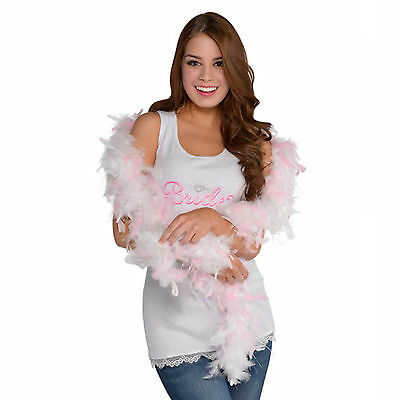 Hen Night Party Stylish Fashion Pink White Deluxe Feather Boa Accessory