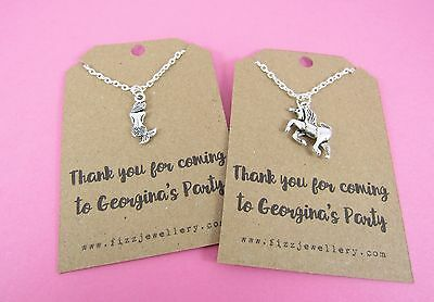 5 x Girls Party Bag Thank You Personalised Card Necklace - Unicorn or Mermaid