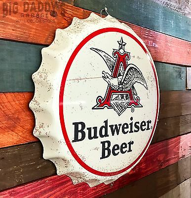 "Budweiser Beer Anheuser Busch Retro 15"" Round ""Bottle Cap"" Sign, Man Cave Bar"