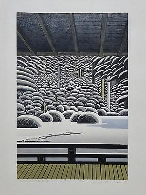 RAY MORIMURA Japanese Woodblock Print   JAPANESE GARDEN (WINTER) PORTLAND 2017
