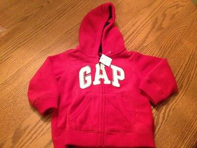 NWT Baby Gap 18-24 Months Boys Red Fleece Zip Up Hoodie Jacket