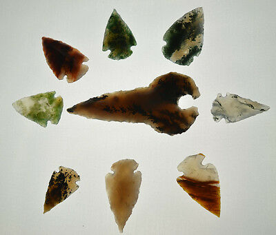 9 Translucent  Arrowheads Flint Points Spears Art Projects Stained Glass B1615