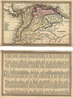 1833 Lovely T. Starling map of COLOMBIA - Central America. Text page
