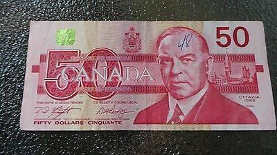 Canadian $50 Dollar Bank Note Bill FHW2597836 Circulated 1988 Canada