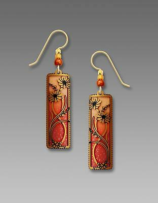 Adajio Earrings Autumn Orange & Apricot Column with Floral Overlay Handmade USA