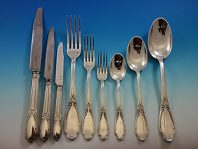 Henin and Cie French Sterling Silver Flatware Set Service 112 pcs Dinner Size