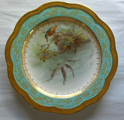 Antique Hand-painted Wedgwood Porcelain Plate - Wildlife Scene
