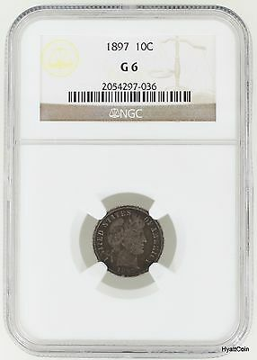 1897 Barber Silver Dime 10C NGC G6