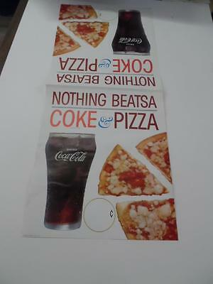 c.1960 Two Side Coca Cola Coke & Pizza Paper Advertising Poster Vintage Original