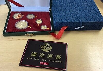 1988 Proof Panda 5 Coin Set China With Box & COA 1.9 Oz Gold  (Q13)