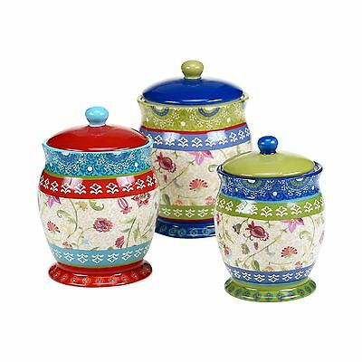 Certified International 17279 3 Piece Annabelle Canister Set Multicolor New
