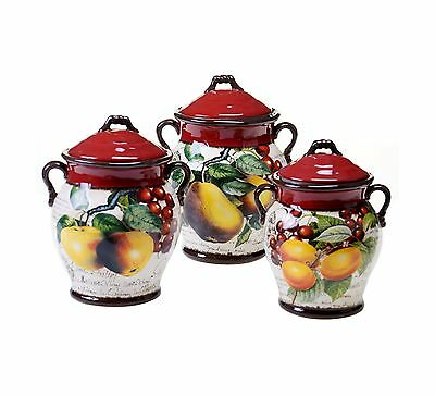 Certified International 3-Piece Botanical Fruit Canister Set Multicolor New
