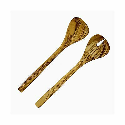 French Home D14 12-inch Olive Wood Salad Servers Set New