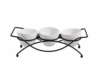 Gracious Dining Gibson 4 Piece Serving Set Ware with Metal Rack White New