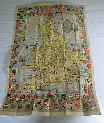 Vintage Historical Map of England and Wales - large foldout map on linen/canvas
