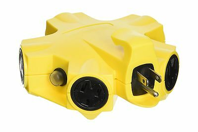 Yellow Jacket 27362 5-Outlet 15-Amp Outdoor Power Strip Adapter Yellow New
