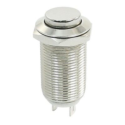 Metal Latching High Flat Push Button Switch 12mm Threaded SPST ON/OFF