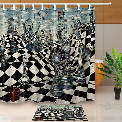 Chess Design Waterproof Fabric Shower Curtain Liner Doormat Bathroom Decor Set