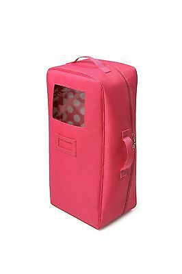Badger Basket Doll Travel Case With Bed And Bedding -Dark Pink New