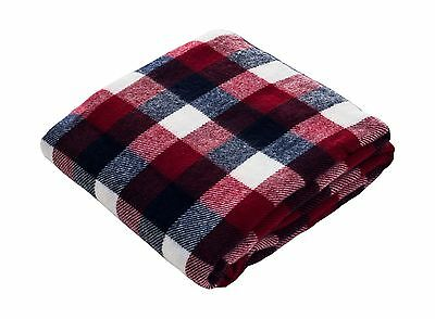Bedford Home Throw Blanket Cashmere-Like Red/Blue/White New