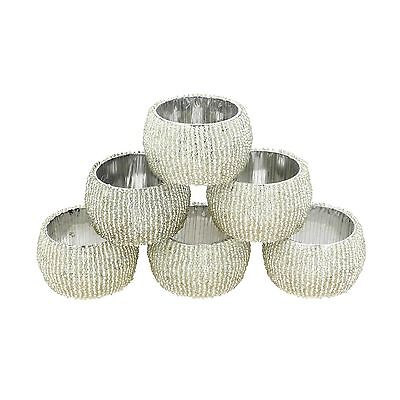 Beaded Napkin Rings Set of 6 Silver Decorations Christmas Ornaments New
