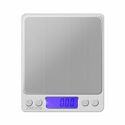 Digital Kitchen Scale  ZWOOS High Weigh Precision 500g x 0.01g Stainless ... New