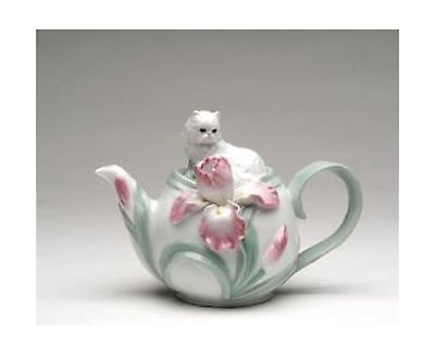 """CG PC48209 7.25"""" Tea Pot with Lounging Cat & Flowers New"""