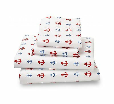 Colorful Nautical Anchor Twin Sheets Breathe 50% Better Than Cotton and A... New